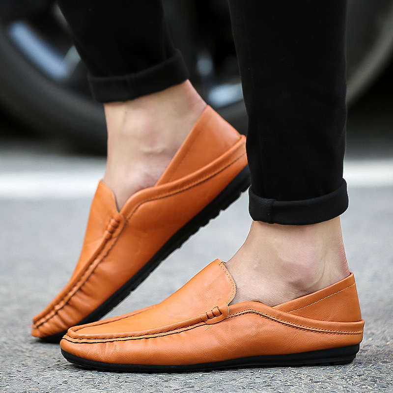 Loafers Shoes Sneakers Casual Brown Flat White Men's Fashion Footwear Black Solid Low-Help