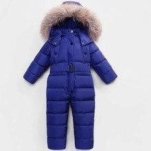 Комбинезоны для русской зимы, верхняя одежда, детский лыжный костюм, детский Пуховый комбинезон с натуральным мехом, с капюшоном, теплый, для мальчиков и девочек до-30 градусов