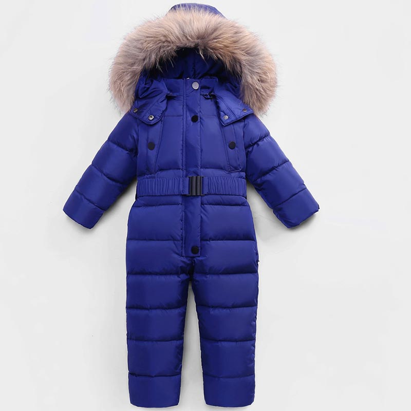 Russian Winter Jumpsuits Outdoor Wear Kids Ski Suit Children Down   Rompers   with Real Fur Hooded Warm Boys Girls for -30 Degree