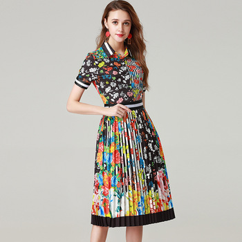 European style floral print 2 piece ser short sleeve shirts pleated skirts Women summer elegant skirt suit A233
