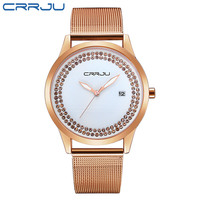 CRRJU Top Brand Luxury Women Watch Fashion Steel Alloy Quartz Watches Ladies Gold Simple Style Casual