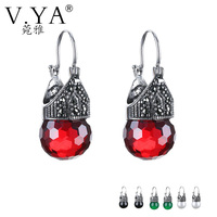 V.YA Red Garnet 925 sterling silver earrings opal natural stone water-drop dangle earrings for women elegant drop earring S925