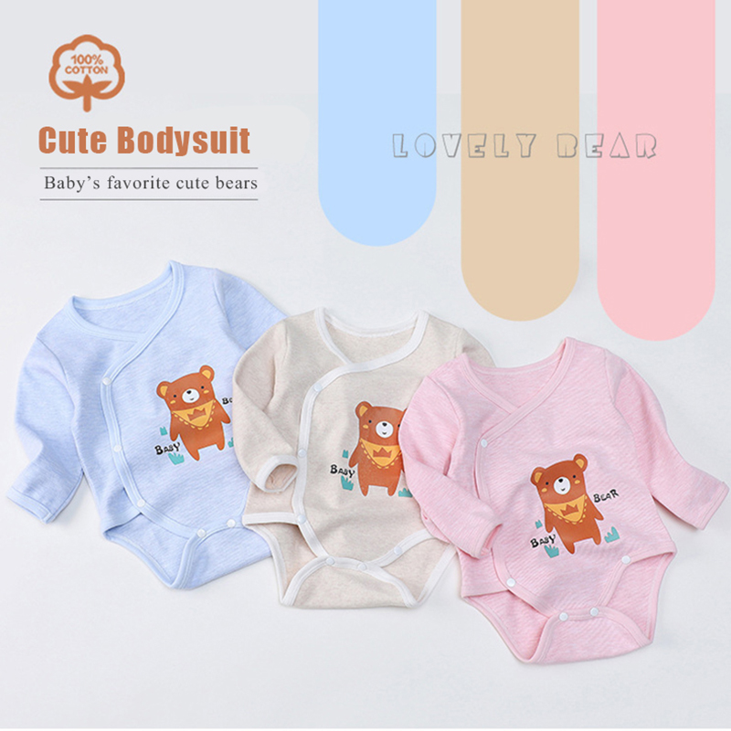 Soft Cotton Baby   Rompers   Long Sleeve Newborn Baby Clothing Set Side Snap Baby Girls Boys Clothes Infant Jumpsuit Outfits 3M-3T