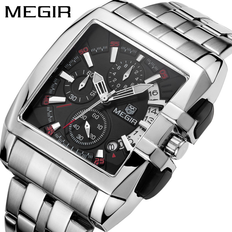MEGIR Chronograph Mens Watches Top Luxury Brand Clocks Military Army Sport Clock Steel Strap Quartz Date Men Male Watch Box 2018 сетка panasonic для бритв es 718 719 725 rw30 es9835136 page 7