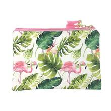 KANDRA Fashion Flamingo Print Women Cosmetic Bag Soft Tassel Zipper Travel Palm Makeup Case Every Day Clutch Tote Wholesale