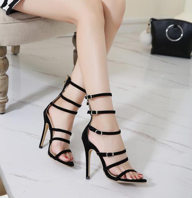 Dijigirls zapatos de verano super star moda correa del tobillo del  gladiador sandalias sexy tacones altos e960ae9155dc