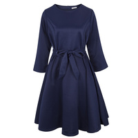 Young17 Women Vintage A Line Dress Fall Round Neck Three Quarter Sleeve Party Dress Knee Length