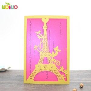 Image 4 - 100 stücke einzigartige Turm liebe hochzeit einladungskarte laser geschnitten papier priniting einladungen modell