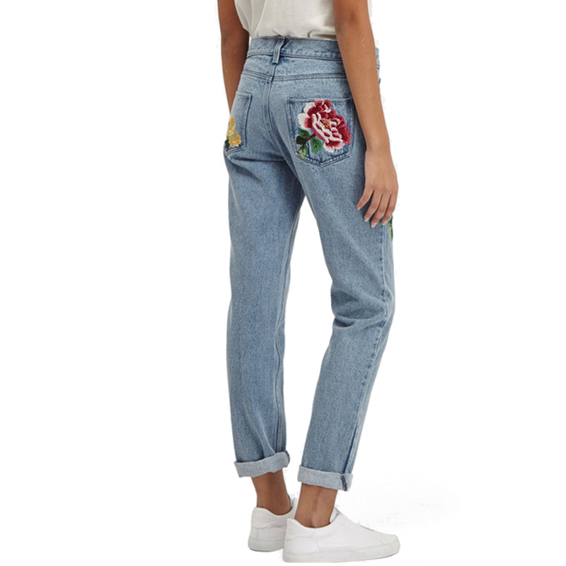 Mom Jeans Pantalon Femme Brand Femme Jeans With Embroidery Flower - Women's Clothing - Photo 5