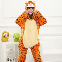 Animal Tiger Kigurumi Tutina di Età Adolescenti Donne Pijama Pigiama Divertenti Flanella Caldo Molle Sleepwear Onepiece Tuta Globale