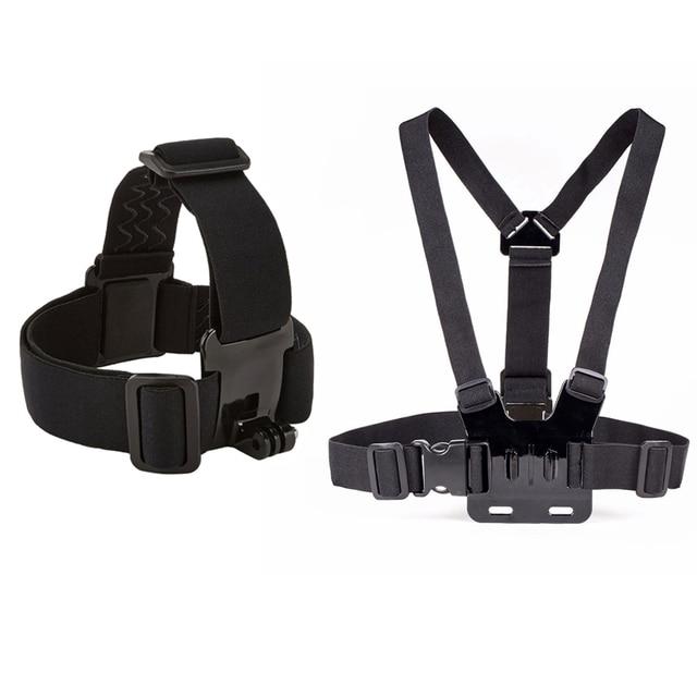 Chest Head Belt, Mount For Gopro Hero 5 4 accessories Set SJCAM SJ4000 Action sport Camera Go pro J mount for Head Harness Strap