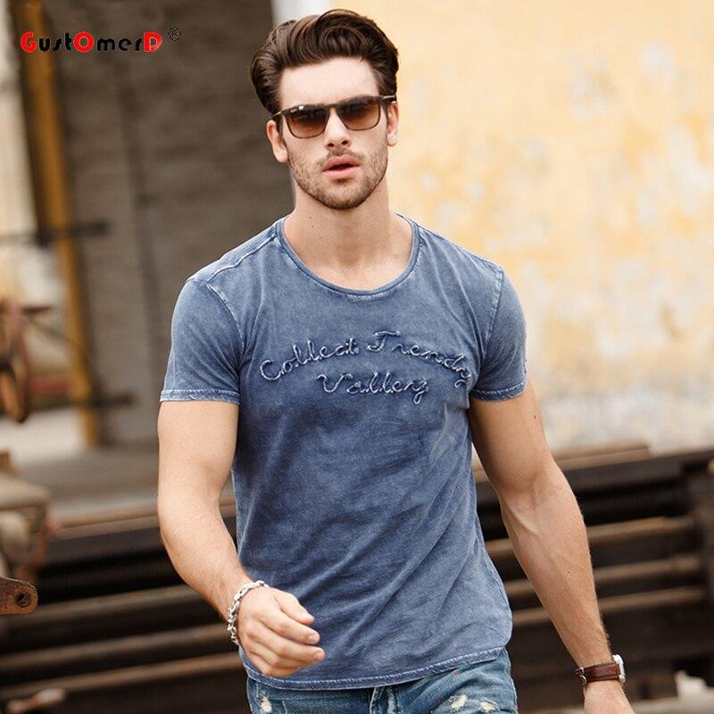 GustOmerD agua lavada 2017 Nuevo diseño de moda para hombre Camisetas bordadas de manga corta cuello redondo camisetas de algodón Casual camiseta los hombres