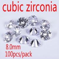 Wholesale Jewelry Supplies Swiss AAA Grade CZ Cubic Zirconia Round Zircon 8 0MM DIY Jewelry Findings