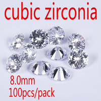 Wholesale Jewelry Supplies Swiss AAA Grade CZ Cubic Zirconia Round Zircon 8 0MM DIY Jewelry Findings