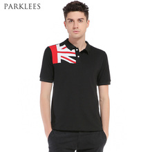 Flag Printed Polo Shirt Men 2017 Brand New Short Sleeve Polo Homme Casual Slim Fit Men Fashion Polo Business Camisas Polo Black