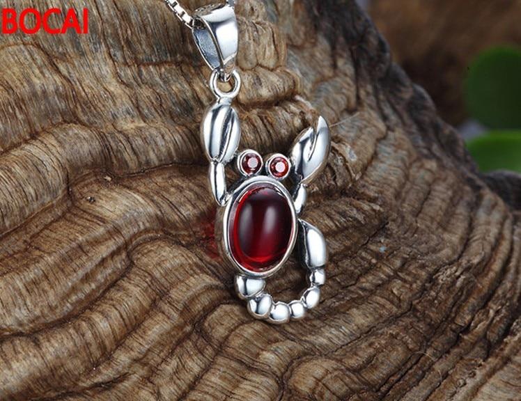 Dutiful 925 Sterling Silver Pendant Silver Garnet Necklace Wang Diaozhui Retro Scorpion Necklaces & Pendants Jewelry & Accessories