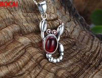 925 Sterling Silver Pendant Silver Garnet Necklace Wang Diaozhui retro scorpion
