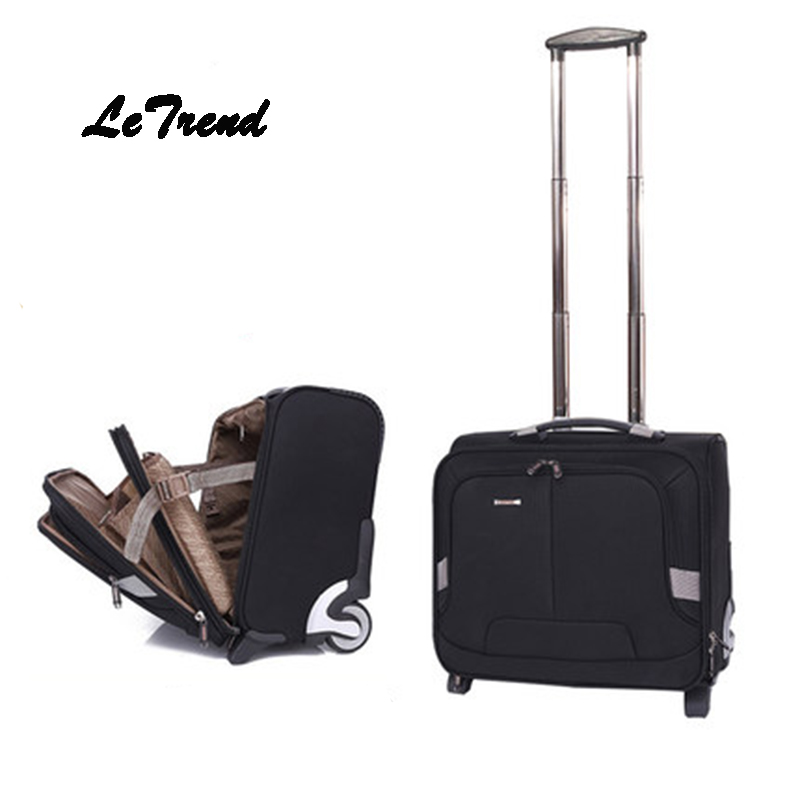Letrend Oxford Rolling Luggage Casters Business Computer Trolley 18 inch Carry On Luggage Wheels Suitcases Travel Bag Men Trunk