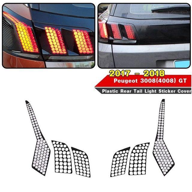 pcmos 1 Set Plastic Rear Tail Light Cover For Peugeot 3008 GT - 2018 Car Stickers