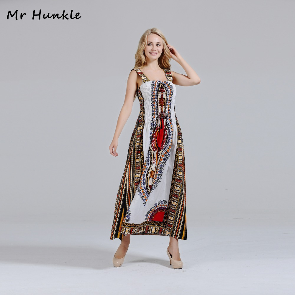 Mr Hunkle Women's MAXI Dress Spaghetti Strap White Cotton Dashiki Dresses African print Dresses for women African Vestidos