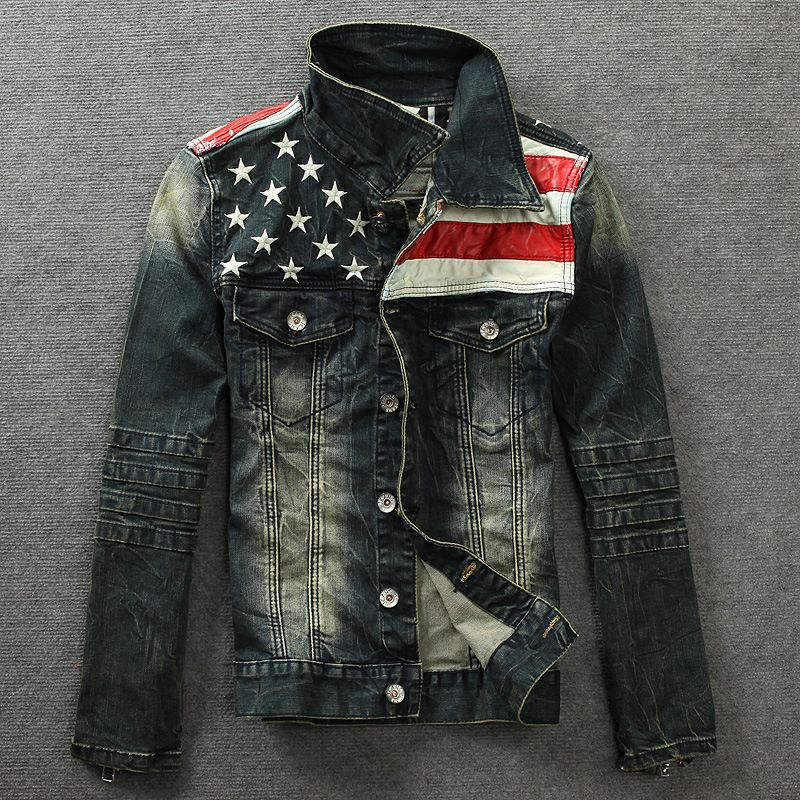 Hip hop punk denim jacket American flag motorcycle jeans short jacket Men Tide Brand Loose College coat chaqueta hombre 72608