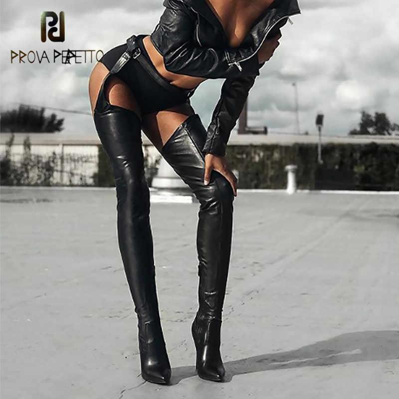 Prova perfetto Kadın Çizmeler Yüksek Rihanna Tarzı Diz Çizmeler Kadın Ayakkabı Sivri Burun Yüksek Topuklu Seksi siyah çizmeler