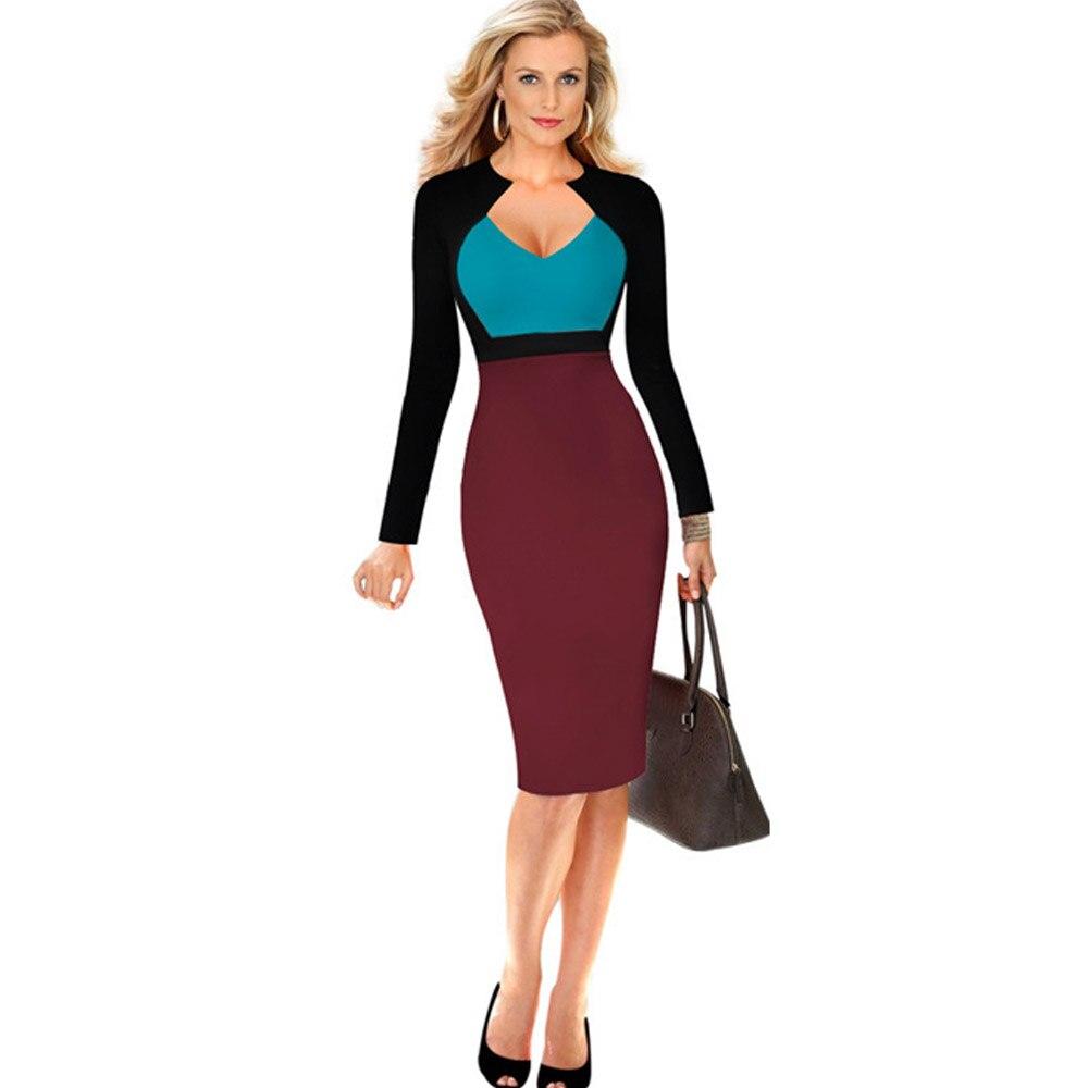 7d247ca075a Livraison gratuite haute qualité qualité manches longues robe à la mode  femmes tendance robe de bureau dans Robes de Mode Femme et Accessoires sur  ...