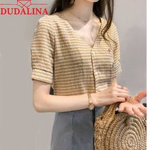 Dudalina Plaid Female Shirts Lady 2018 New Fashion Lady Fashion Shirts Women Short Sleeve Tops Fashion feminina Size M-4XL