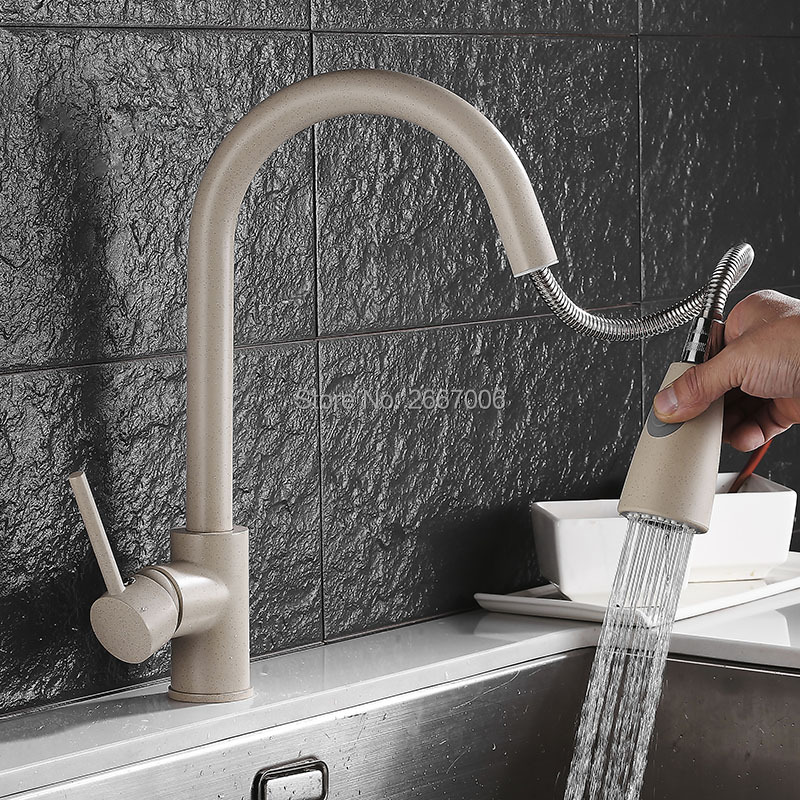 GIZERO Oat Color Paint Pull Out Single Handle Swivel Spout Vessel Sink Mixer Kitchen Tap Hot And Cold Water GI2098 donyummyjo modern new chrome kitchen faucet pull out single handle swivel spout vessel sink mixer tap hot and cold water