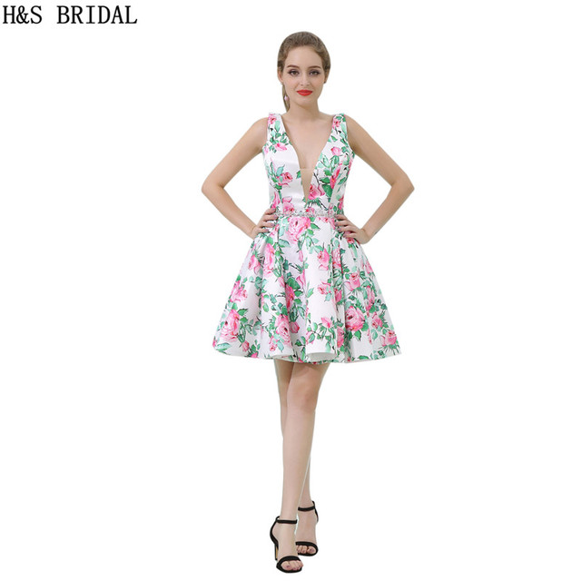 H&S BRIDAL Deep V Neck Short prom dresses Print Flower Fabric ...