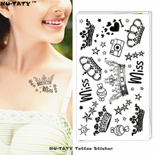 Nu-TATY Imperial Queen Crown Temporary Tattoo Body Art Arm Flash Tattoo Stickers 17x10cm Waterproof Fake Henna Painless Tattoo