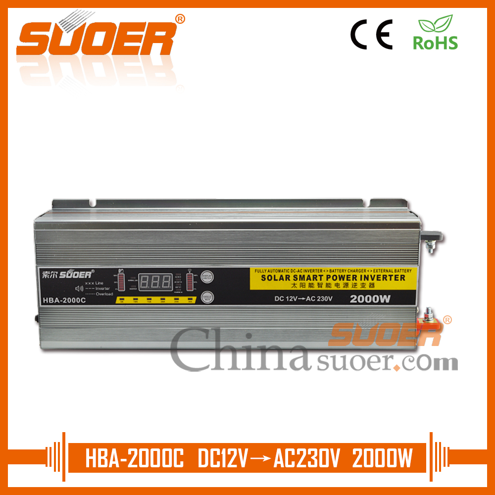Suoer Digital Display 12v 220v Power Inverter 2000w With Dc To Ac Circuit Battery Charging Function 30a Chargerhba 2000c In Inverters Converters From Home Improvement On