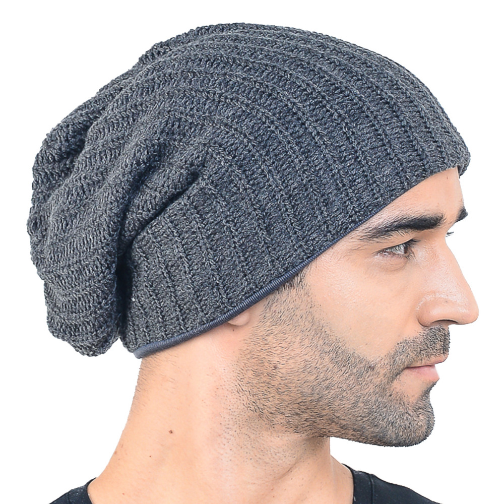 HISSHE Mens Slouchy Beanie Classic Long Baggy Oversize Skull Cap Bonnet Knit  Warm Soft Ski Winter Hat 2266904ada3