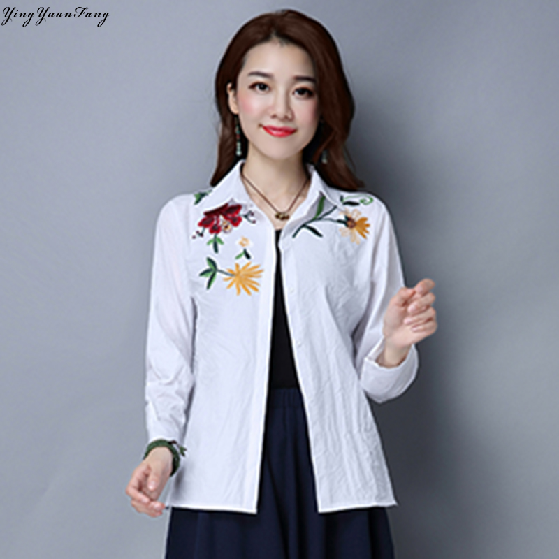 YingYuanFang New fashion women's embroidery long-sleeved large size 2XL cotton shirt