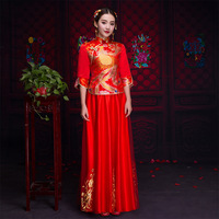 Classic Phoenix Cheongsam Elegant Half Sleeve Women Wedding Qipao Vestidos Traditional Oriental Bride Dress Marriage Suit