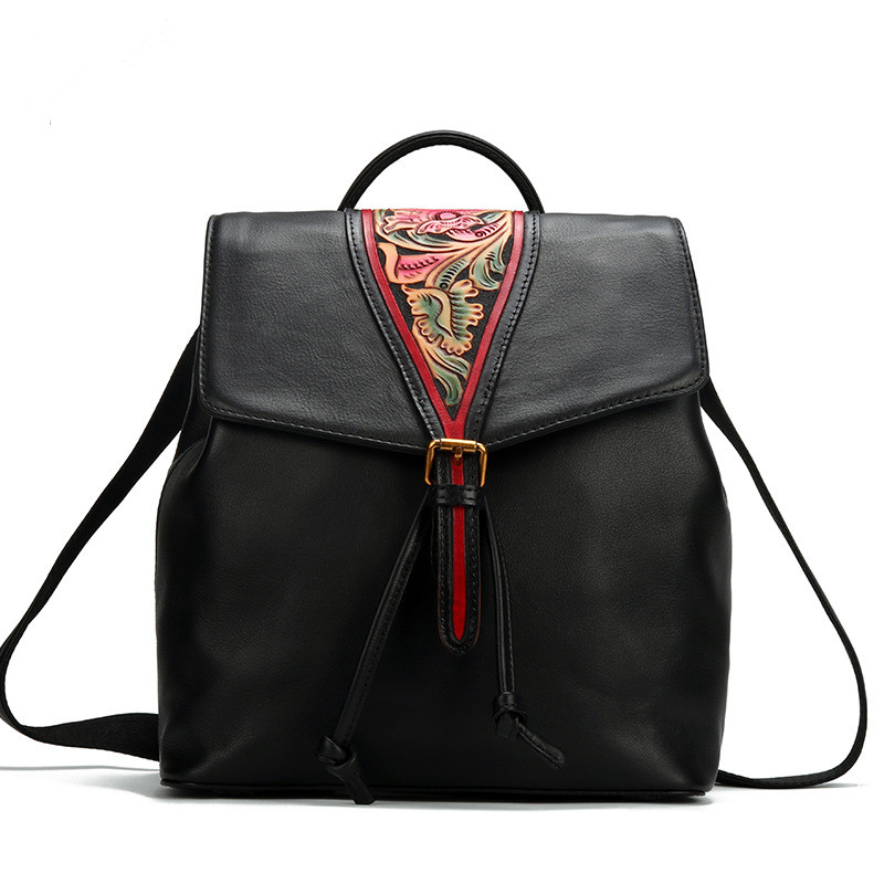 Chinese Style Vintage Women Backpacks Genuine Leather Carved Flowers Shoulder Bag Satchels Travel First Layer Cowhide Backpack new 2016 patchwork genuine leather women s backpack flowers cowhide women shoulder bag school bag ms travel backpacks wb35