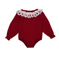 Autumn Spring 2017 New Cute Newborn Infant Baby Girls Lace Playsuit Bodysuit Jumpsuit Clothes Home Outfit Children Clothing