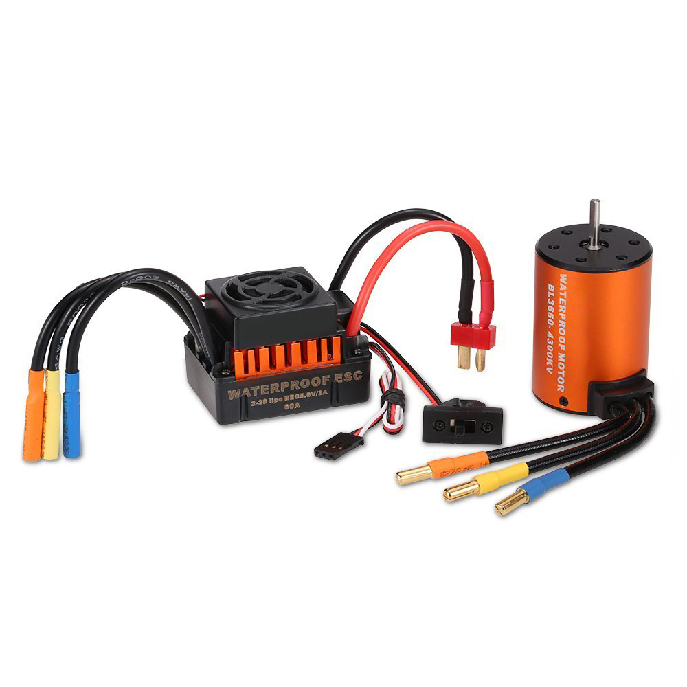 New Upgrade Waterproof 3650 4300KV Brushless Motor with 60A ESC Combo Set for 1/10 RC Car Truck hobbywing ezrun max8 v3 t trx plug waterproof brushless esc 4274 2200kv motor led programing for 1 8 rc car truck f19289 90