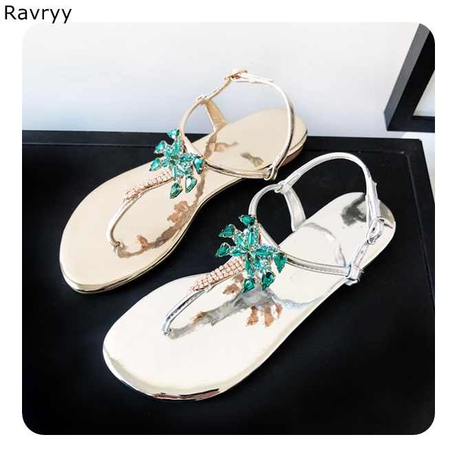 a15d5418ccd05 ... Bling bling green crystal coconut tree decor Woman sandals 2018 summer flats  flip flops Bohemia style