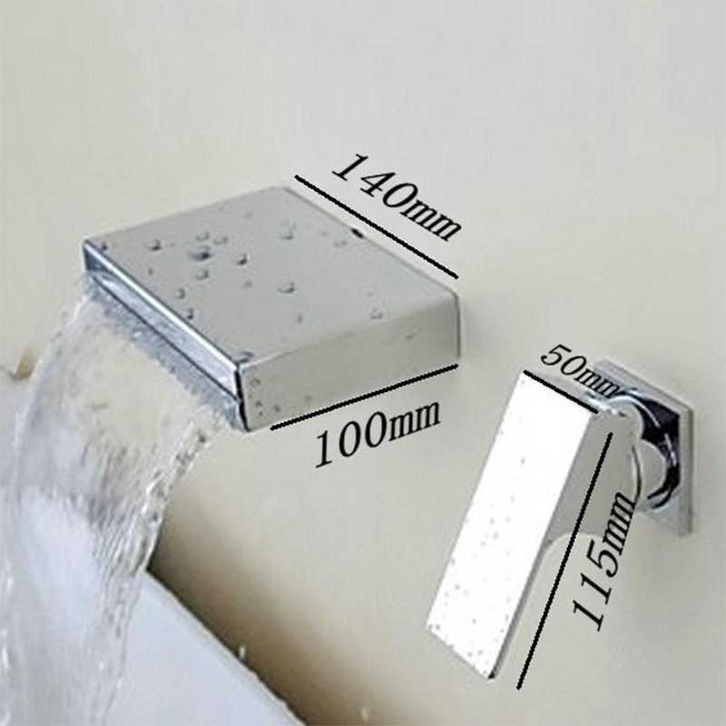 Torayvino cachoeira led torneira do banheiro luz em mudança de cor banho bacia torneira da pia montagem na parede latão cromado torneira misturadora
