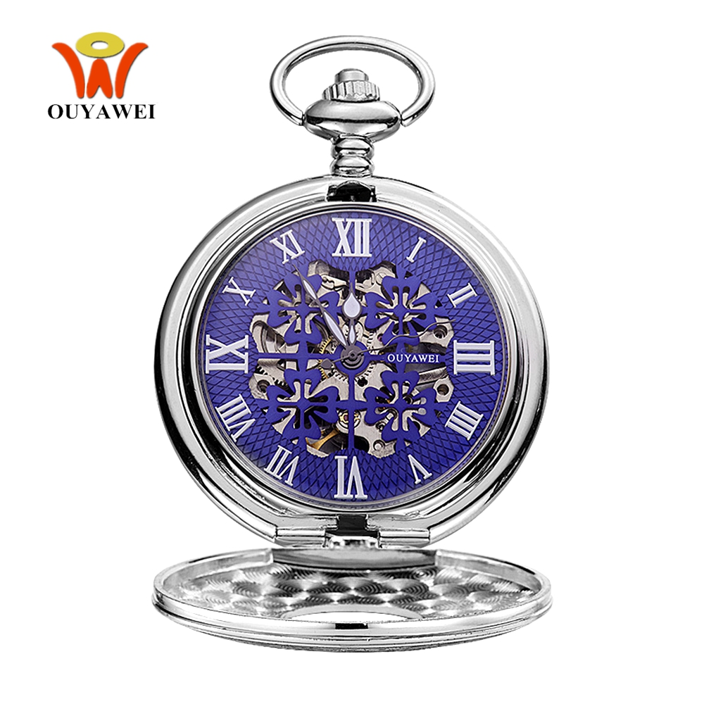 Top Sale Fashion OYW Mechanical Hand Wind Pocket Watch Men Pendant Watch Full Steel Case Pocket Fob Watch Hombre Relogio Horloge