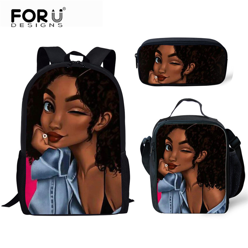 FORUDESIGNS School Bag 2019 Black Queen African Girl Printing Back Pack Kids Cute School Bags School Backpack Girl Children Bag