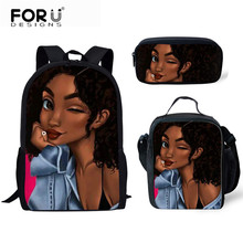 FORUDESIGNS School Bag 2019 Black Queen African Girl Printin