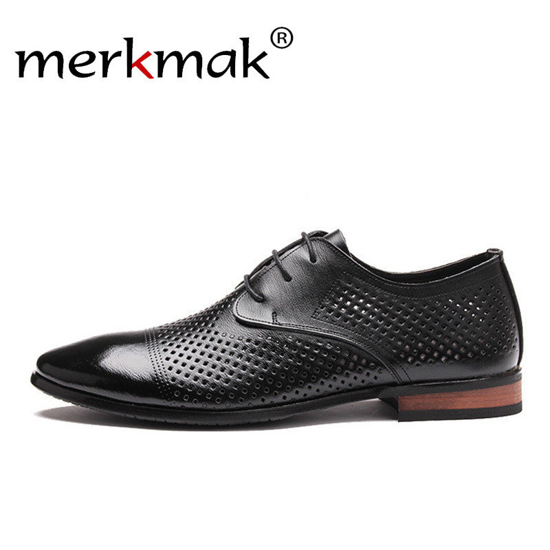 Merkmak Genuine Leather Shoes Men Hollow Out Breathable Dress Shoes Black Brown Casual Business Wedding Shoes Mans Oxfords ShoesMerkmak Genuine Leather Shoes Men Hollow Out Breathable Dress Shoes Black Brown Casual Business Wedding Shoes Mans Oxfords Shoes