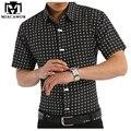 2017 moda casual homens camisas curtas verão masculino xadrez de metal decoração de fitness fino lapela tops qualidade clothing