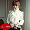 Primavera outono camisa das mulheres sólido branco longos das senhoras da luva elegante chiffon blusa tops Vertical plissados Ruffled collar plus size