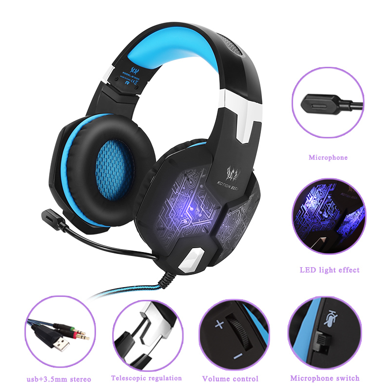 Gaming Headset KOTION EACH G1000 Deep Bass Headphone Stereo Surrounded Ear Headset 3.5mm+USB Headphones With Mic LED Light new each g1000 deep bass gaming headphone stereo surround over ear headset 3 5mm usb headphones with mic led light for pc gamer