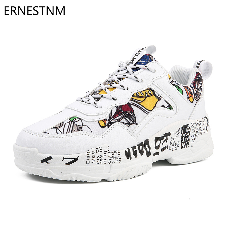 ERNESTNM 2019 Summer Woman Casual Fashion Sneakers Graffiti Flats Ladies Vulcanized Shoes Autumn White Sneakers Zapatos Mujer