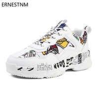 ERNESTNM Turnschuhe Frauen Sommer Frau Casual Mode Schuhe Graffiti Wohnungen Damen Vulkanisierte Schuhe Weiße Turnschuhe Zapatos Mujer