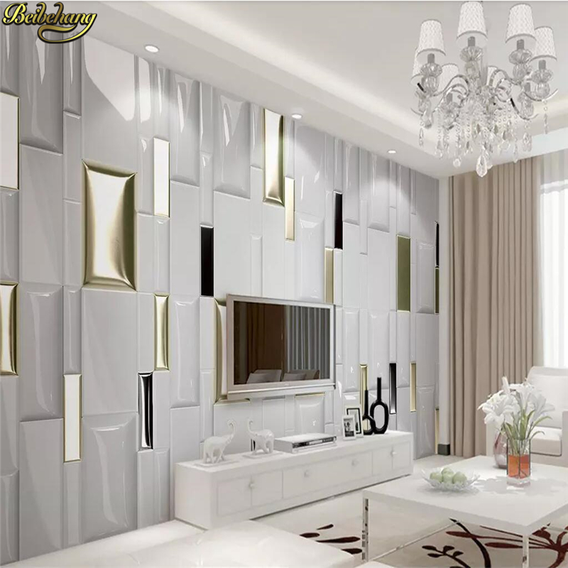 Beibehang Custom Photo Wallpaper 3D Landscape Mural Living Room Bedroom Modern Fashion Gold Checkered Wall Papers Home Decor